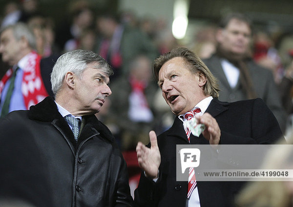 Michael Meier (left)  manager of the german footballclub 1. FC Koeln  with Harald Strutz  manager of Mainz 05 (right)