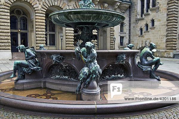 Fountain in the inner courtyard of Hamburg's town hall  Hamburg  Germany
