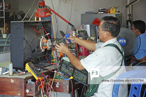 Repair shop for televisions  Surat  Thailand  Asia