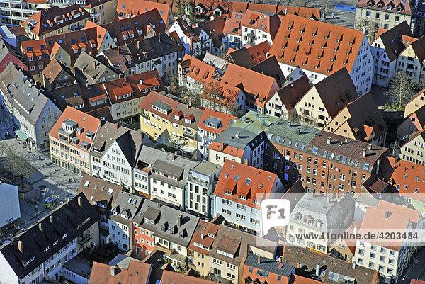 Blick vom Münster auf die Altstadt  Ulm  Baden-Württemberg  Deutschland
