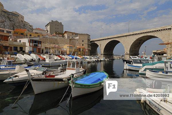 Fischerbucht Port du Vallon-des-Aufes  Marseille  Provence-Alpes-Cote d'Azur  Frankreich