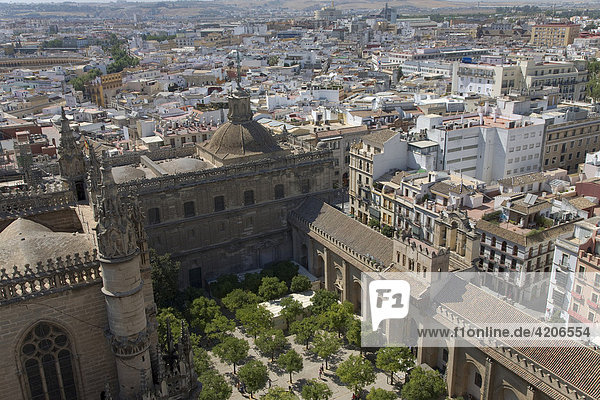 View of Seville's historic centre and Patio de las Narajnos from the tower of Seville Cathedral  Seville  Andalusia  Spain  Europe