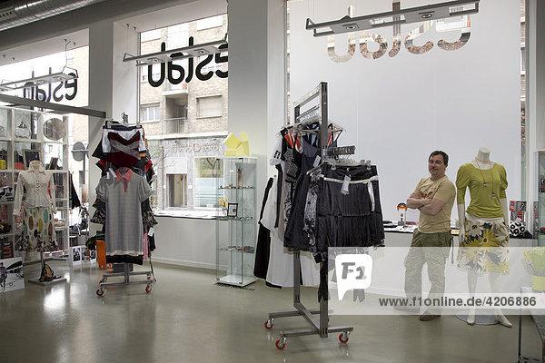 Eslabshop fashion boutique  interior view and shop assistant  Zaragoza  Saragossa  Aragon  Spain