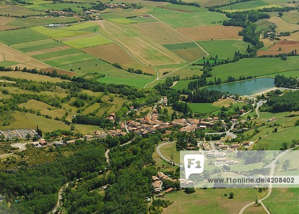 Aerial view of Puivert village  Aude  Languedoc-Rousillon  France