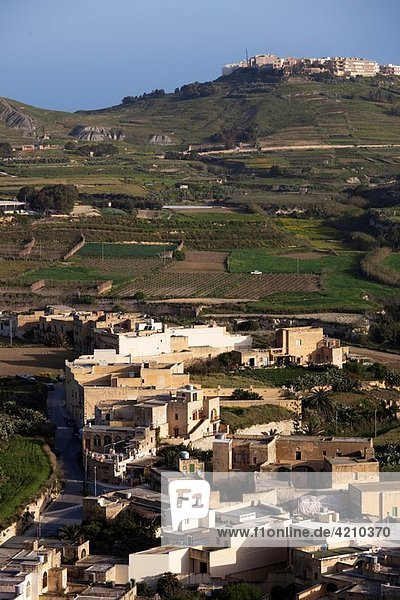 Malta  Gozo Island  Victoria-Rabat  elevated countryside view from Il-Kastell fortress  morning