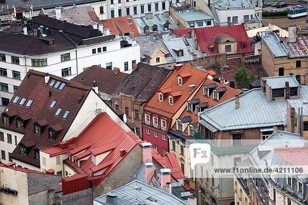 Latvia  Riga  Old Riga  Vecriga  elevated view from St Peter´s Lutheran Church balcony