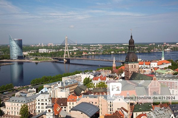 Latvia  Riga  Old Riga  Vecriga  elevated town view from St Peter´s Lutheran Church
