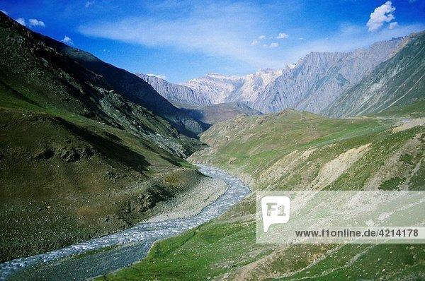 India road and valley between srinagar and leh in ladakh