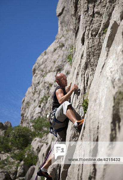 Kletterer Kletterwand