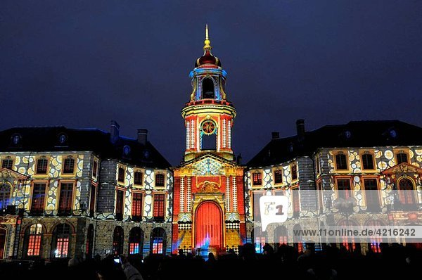 City Hall and light show designed by Benoît Quero for Christmas  Rennes  Ille-et-Vilaine  Brittany  France