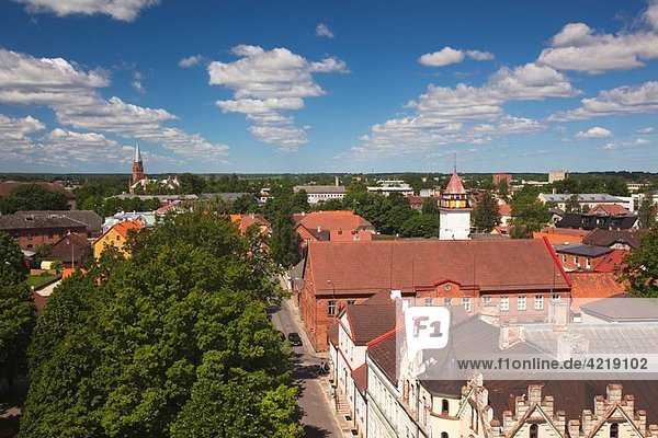 Estonia  Southwestern Estonia  Viljandi  elevated town view from Old Water Tower
