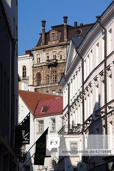 Estonia  Tallinn  Old Town  street view towards Toompea