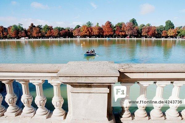 Pond from the banister  Retiro park  Madrid  Spain