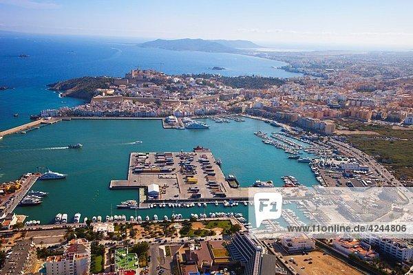 Aerial view Eivissa. Ibiza City. Ibiza. Balearic Islands. Spain.