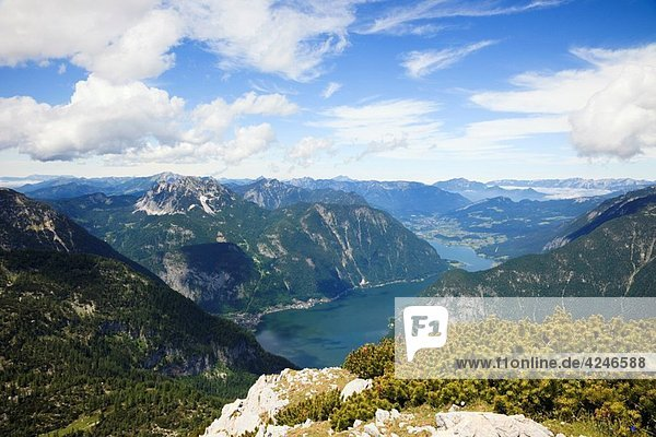 Obertraun  Salzkammergut  Austria  Europe Elevated view to Hallstattersee lake from Krippenstein mountain in the Dachstein Massif in the Austrian Alps