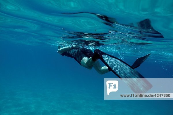 A snorkeler swimming in the mediterranean sea