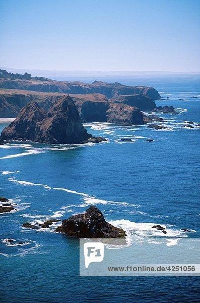 Seastacks and rocky coastline  California  USA