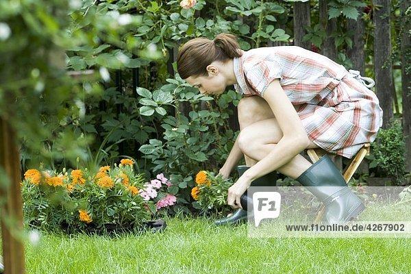 Frau Pflanzen im Garten