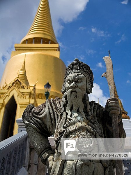 Statue Wat Phra Kaew  or Temple of the Emerald Buddha Gran Palace Bangkok  Thailand