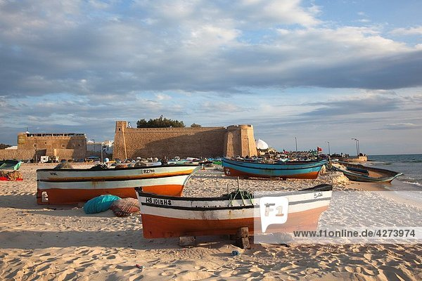 Tunisia  Cap Bon  Hammamet  waterfront  Kasbah Fort and fishing boats  dusk
