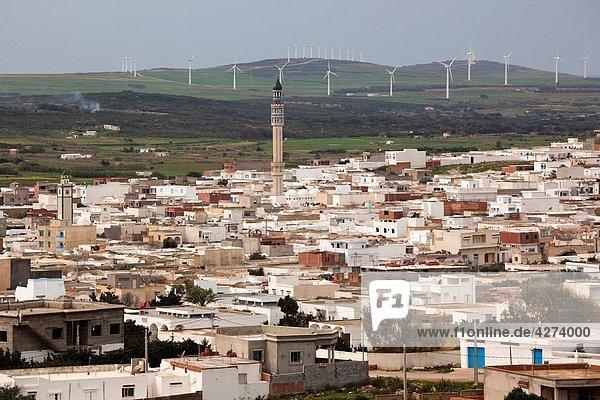 Tunisia  Cap Bon  El-Haouaria  town view from Jebel Abiod