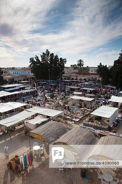 Tunisia  Sahara Desert  Douz  souq-market  elevated view