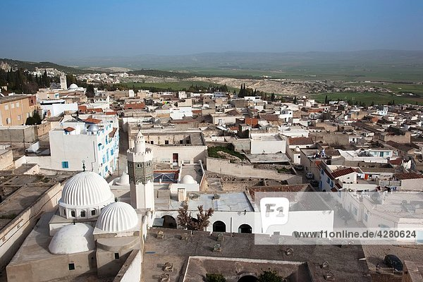 Tunisia, Central Western Tunisia,  Le Kef,  Zouia of Sidi Abdallah Boumakhlouf mosque,  elevated view, Tunisia, Central Western Tunisia,  Le Kef,  Zouia of Sidi Abdallah Boumakhlouf mosque,  elevated view