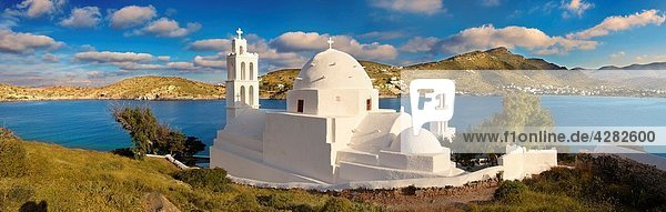 The Byzantine church of Agia Irene on the harbour of Ormos  Ios  Cyclades Islands  Greece