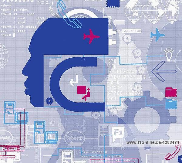 Collage eines Kopfes  Computerbildern und Zahnrädern