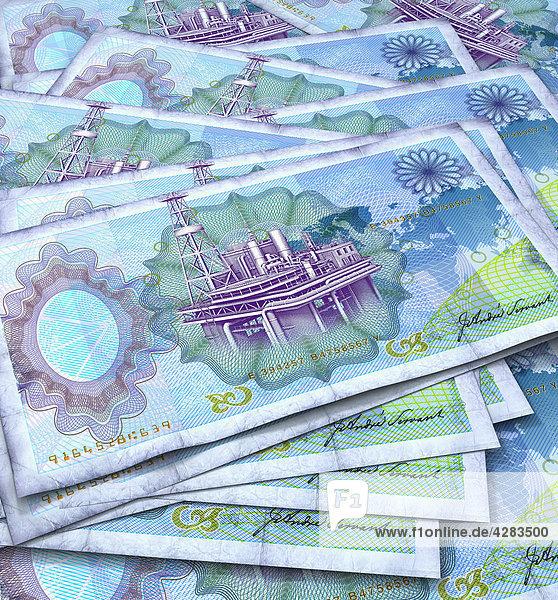 Blaue Geldscheine mit Ölplattformen