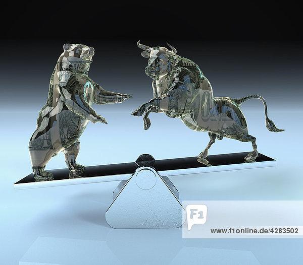 Bulle und Bär balancieren auf einer Wippe