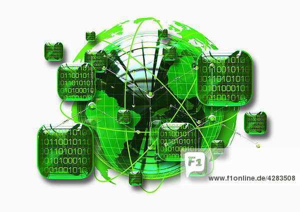 Grüner Globus umgeben von Binärcodes
