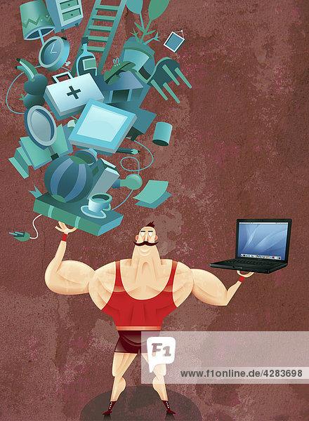 Starker Mann balanciert Laptop und Haushaltsgegenstände