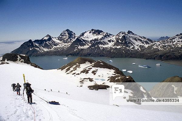 Kletterer absteigender an Seil Linie durch Tiefschnee zu Fortuna Bay Süd-Georgien Insel antarktischen Sommer