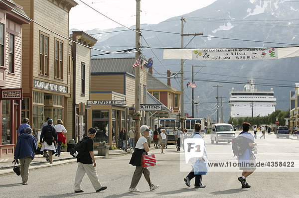 Summer tourists exploare the streets of Skagway in Southeast Alaska