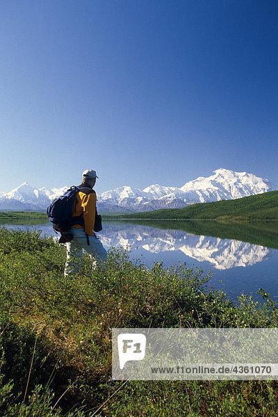 Day Hiker Views Mt Mckinley @ Wonder Lake IN AK Summer