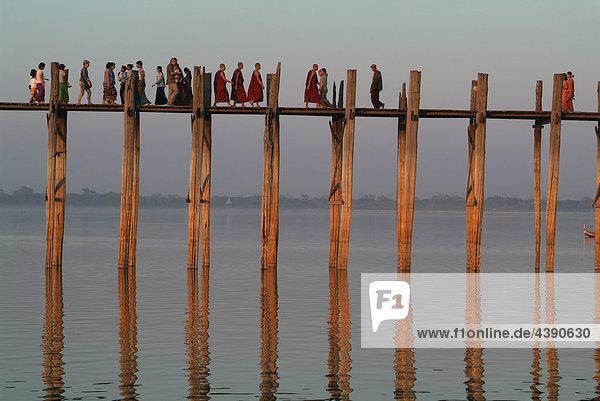 Amarapura  Asia  Burma  Myanmar  bridge  U Bein  river  flow  Ayeyarwady