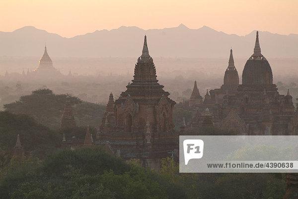 Asia  Burma  Myanmar  Bagan  plain  temple  morning  dusk  twilight
