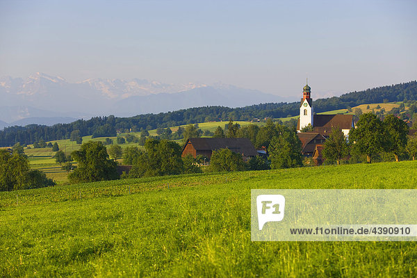 Beinwil  Switzerland  Europe  canton Aargau  village  houses  homes  church  mountains  Alps  meadow
