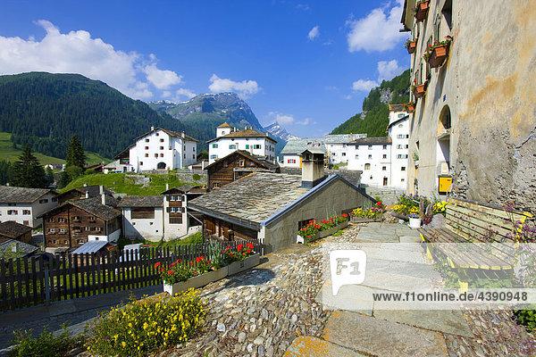 Splügen  Switzerland  Europe  canton Graubünden  Grisons  village  houses  homes  stone roofs  seat Kanton Graubünden
