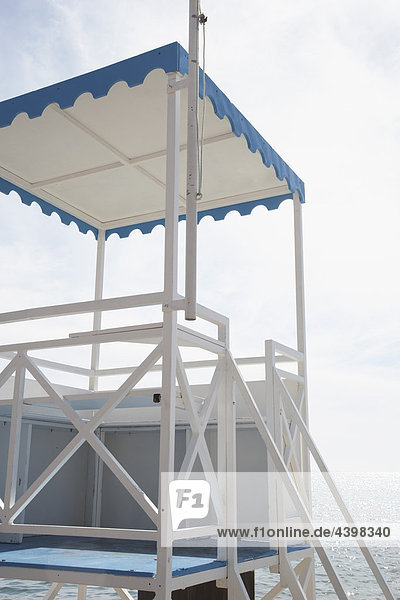 lifeguard tower on beach near Menton in France