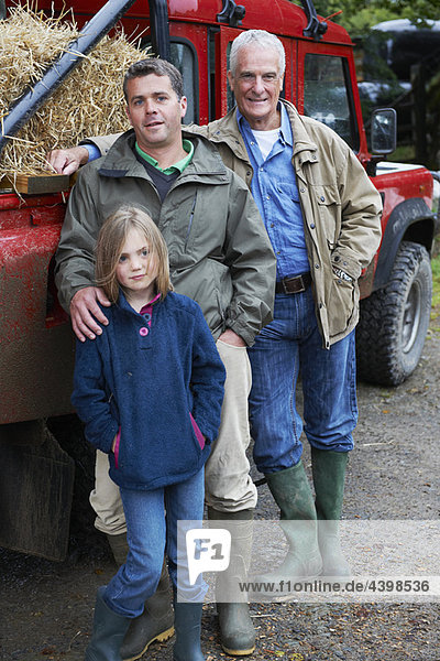 Family with 4x4 Landrover