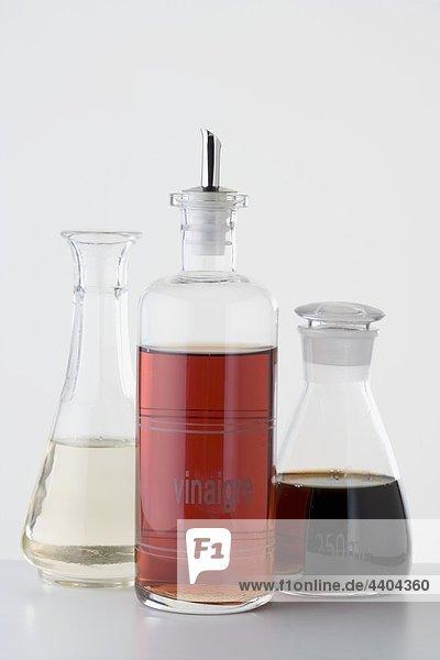 Various types of vinegar in bottles