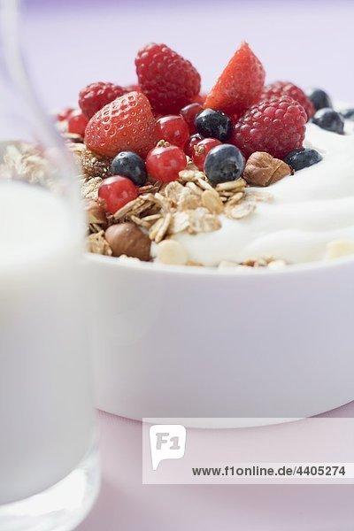 Müsli mit Joghurt und frischen Beeren