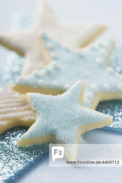 sternförmig weiß blau Keks Eiscreme Eis