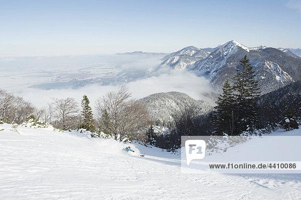 Germany  Man skiing on herzogstand mountain