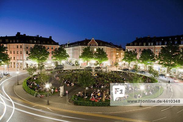 Germany  Munich  View of gaertnerplatz at night