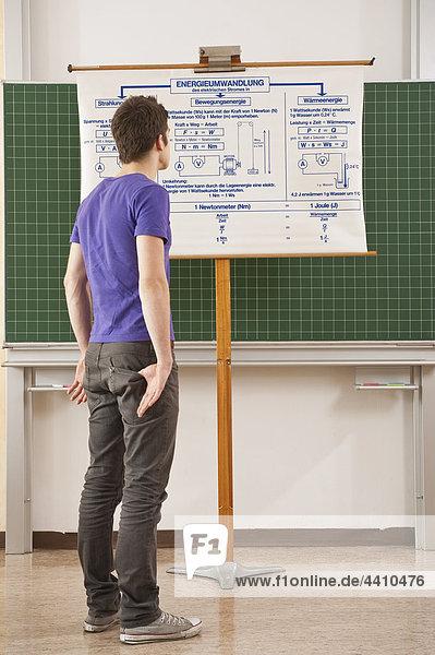 Teenager-Junge  der mit den Händen in der Tasche auf die Karte schaut.