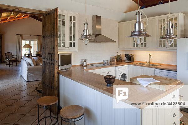 Fliesenboden Küche hoch oben Ansicht Boden Fußboden Fußböden