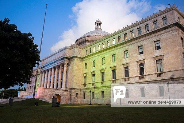 Puerto Rico  San Juan  El Capitolio  Government Capitol building  with decorative lighting  dawn.